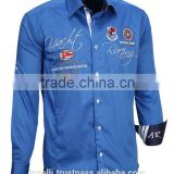 Beautiful long sleeve satin American size comfort fit royal blue white pure cotton nautical shirts for men