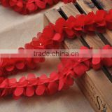 3D chiffon flower lace trimmings,decorative ruffle petals lace trim for dresses                                                                         Quality Choice