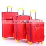 new design red big zip yellow wheels 3 piece set trolley luggage carrier