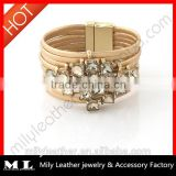 2014 Wholesale Leather rhinestone bracelet China Top 10 Fashion Jewelry Manufacture with supreme quality MLS 001