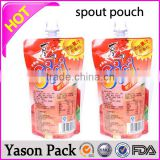 Yason reusable juice spout pouch/soybean milk pouch stand up spout pouch for liquid clear spout pouches/transparent stand up bag
