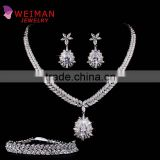 Set of 3 Platinum Plated High Polished Zircon Teardrop Necklace Earring and Bracelet CZ Bridal Wedding Jewelry Set