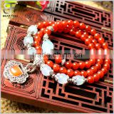 Natural Semi-Precious Gemstone Red Agate Tibetan Buddhist Malas Prayer Beads Bracelet Necklace
