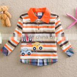 2-6Y (82159#orange) Baby & Kids Toddler Boys Clothing cars embroidered striped o-neck long sleeve t shirt