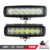 18W LED offroad light bar, atv parts, spot beam 25 degree, atv light with simple mounting stainless steel bracket
