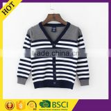 Striped knitted patterns quality V-neck 2016 plain cheap baby winter clothes