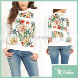 floral sublimation printed O neck long sleeve white t shirts manufacturers china wholesale t shirts