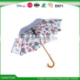 2016 double layers carved wood handle flower photo print inside umbrella                                                                         Quality Choice