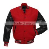 Black Red Varsity Men's wool / leather jacket soft lambskin Leather jacket for men's and boys winter