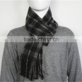 Gray Yarn Dyed Checked Pure Wool Scarf with fringe