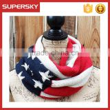 C6115 American national flage infinity chunky scarf knitted pattern