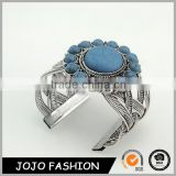 Latest fancy cross design jewelry anti silver thread turquoise cuff bangles