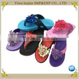 New Style Hot Sale High Heel EVA Material Lace Flower Flip Flops Women Slippers                                                                         Quality Choice