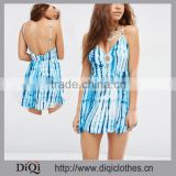 Chic China Factory Price Latest V-neckline Button Front Tie Dye Print Beach Dress