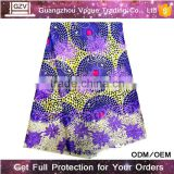 wholesale vogue high quality 100% cotton african net wax print fabric african with tulle lace