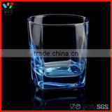 Machine Blown 205ml & 290ml Creative Fashion Style Color Cup Blue Pigment Square Corner Rock Glass
