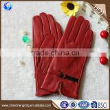 Classic fashion women winter warm genuine goatskin leather gloves
