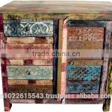 Antique Reclaimed Furniture Chest of Drawer and Door , Jodhpur painted furniture ABCD Cabinet