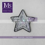 new fashion white color custom star design sequin applique star pattern embroidery patch for jeans
