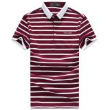 Men's t-shirt t-shirt Lapel burst men's summer business new stripe short sleeved polo shirt