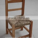 solid wood children chair with ratten cushion