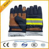 EN659 Cow Leather & Nomex Material Fire Resistant Gloves Fire Fighting Used Fire Proof Gloves