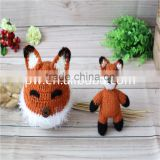 Handmade Fox Toy set Crochet Newborn Doll and Bonnet Knitted Baby Boy Hat Photography Props