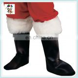 Christmas Party White Fur Top Black Santa Boot Shoe Covers HPC-1074