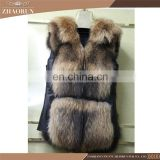2016 Wholesale New Fur Garment Real Raccoon And Sheep Skin High Quality Fur Vest For Women
