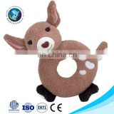 Musical stuffed plush deer baby hanging rattle toy for kids fashion custom LOGO cute soft toy plush animal baby teething toy