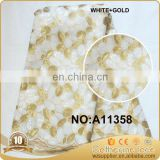 2017 white african organza lace fabric with gold stones for lady dress