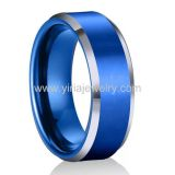 Blue palting two tone colour tungsten carbide wedding bands