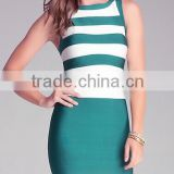 2015 new sey striped long sleeve strap striped white and green women knitted summer elegant bodycon luury noble bandage dress