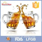 2015 hot sale glass beer mugs with handles/cheap beer glass mug