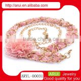 China jewelry manufacturer sexy pink lace flower belly waist chain