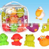 bath toys, floating animal bath toys,samll yellow duck bath toys with different shape and color