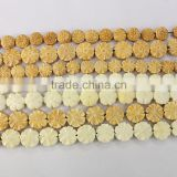 OB064 13mm,17mm,25mm Flat Round Carved flower Bone Beads,Puffed Coin Bone Bead                                                                         Quality Choice