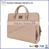 Factory hot sell fashion ostrich skin leather 12.5 inch laptop bag