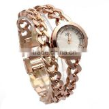 Women's Rose Gold-Tone Double Chain Stainless Steel Band Rhinestone Luury Quartz Wrist Watches
