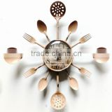 2015 Country Style Cutlery Kitchen Utensil Wall Clock, Spoon Fork Clock in Rust, Vintage Kitchen Wall Clock