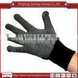 Seeway Black Polyester Knitting with White PVC Dots on Palm Anti Slip Abrasion Resistant Non Disposable Gloves for Work Safety