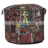 Indian Vintage Ottoman Pouf Cover Patchwork Ottoman Living Room Patchwork Foot Stool Cover