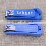 Blue plastic holder nail clippers/bell nail cutter clipper with company logo promotion                                                                                                         Supplier's Choice