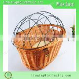 Hot sell round brown color willow bicycle baskets with wire