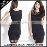 China dress manufacturer new designer Fashion summer sleeveless Sexy lace Black party women dresses