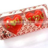 2pcs heart shape wedding candle with i love u