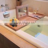 new design 100% Bamboo Bathtub Caddy with mirror bathroom rack with Stemware holder wholesale                                                                         Quality Choice
