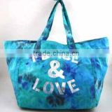 WLCEN015-00 100% Cotton woven Bright Blue Twill Traveling Canvas Tote Bag For Women