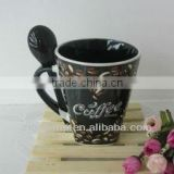 2013 Hot Sell 13oz Inner Black Glazed Fully Decaled Bottom Square Ceramic Coffee Mug with Spoon for Promotion