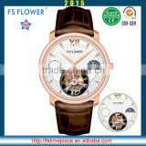 FS FLOWER - Luxury Watch Men Italy Leather Strap Sapphire Glass Moon Phase 24 Hours Real Flying Tourbillon Watch